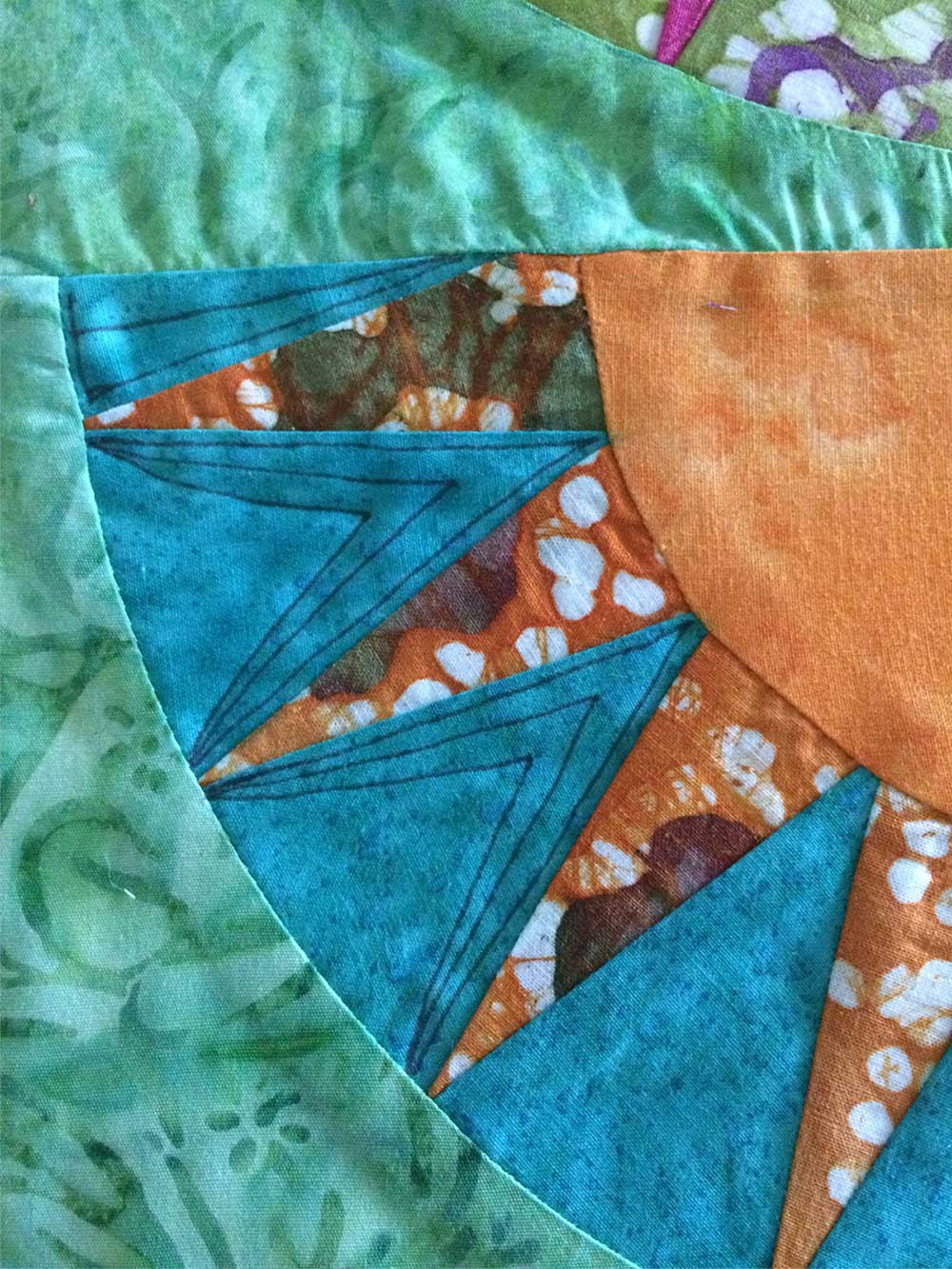 Pen marking stitch ideas on my quilted placemat