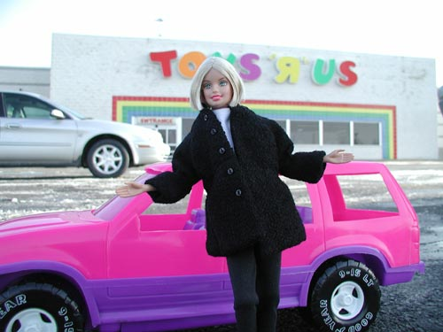 Barbie Outside of Toys R Us