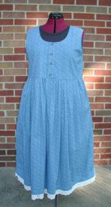 Blue & White Lace Cotton Dress