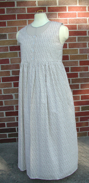 Cream with Tiny Flower W Buttons Cotton Dress