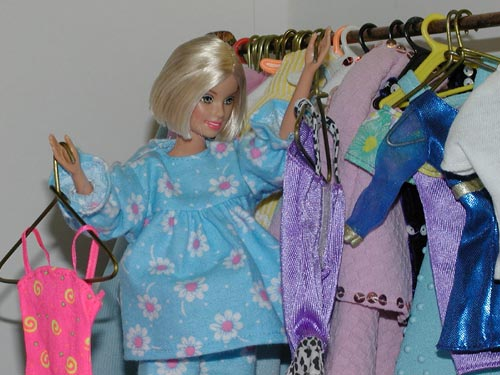 Barbie at Closet Looking for Something to Wear