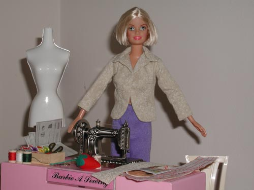Barbie Trying on the Jacket